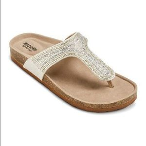 MOSSIMO PATRICE Silver Beaded Footbed Sandals-8